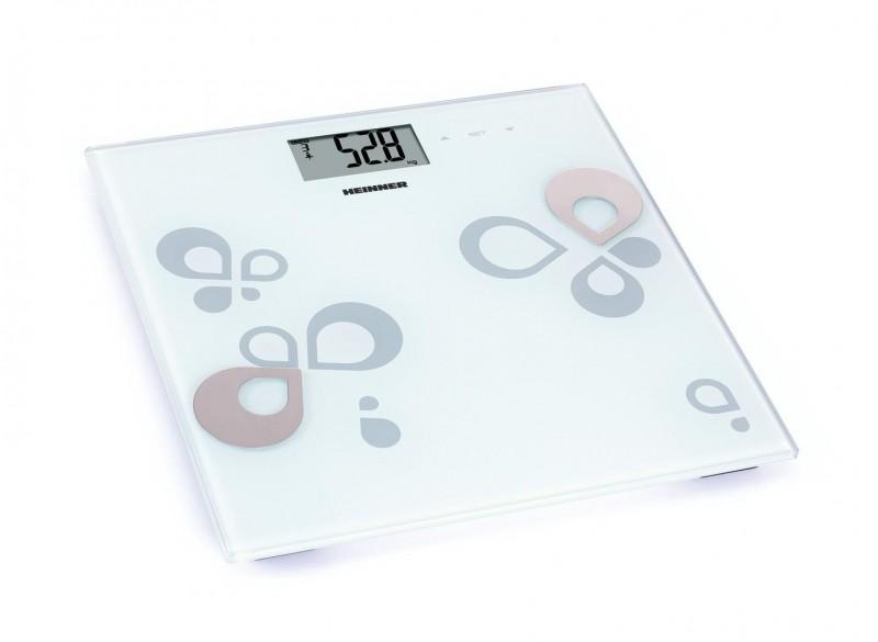 Cantar de baie Heinner, 180KG, Memo 12 persoane, Afisare 5 indicatori masa corporala, 30 X 30 cm, Alb