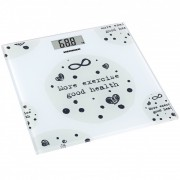 Cantar de baie 150kg, sticla securizata 6mm, 30 x 30 cm, display lcd, Alb