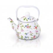 Ceainic emailat Grunberg 2 Litri cu fluie, Model flori