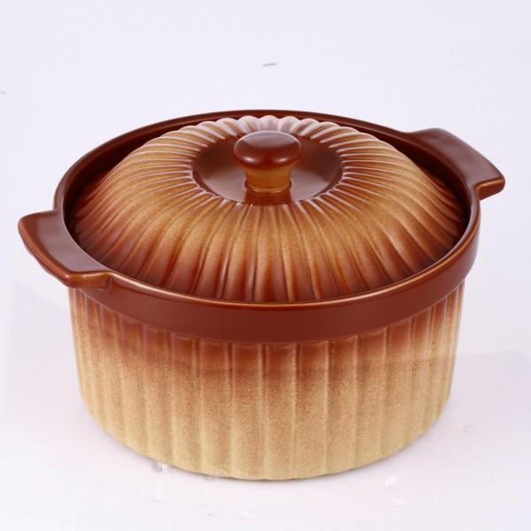 Cratita rotunda din ceramica, capac, 2L, 24 cm