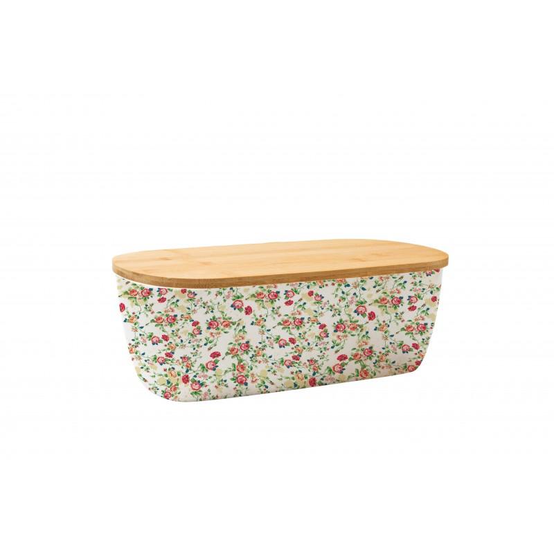 Cutie pentru paine din Fibre de bambus si Capac Detasabil,Model flori