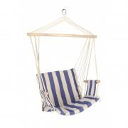 Hamac tip scaun/leagan din bumbac,lemn, greutate maxima 120 kg, Alb/Albastru