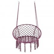 Hamac tip scaun suspendat, impletitura policoton cu accesorii incluse, 80 x 120 cm, Mov
