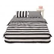 Lenjerie de pat din bumbac 100%,4 piese, 2 peroane,alb/negru,Heinner