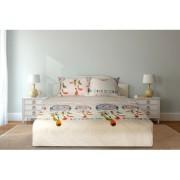 Lenjerie de pat din bumbac 100%,4 piese, 2 peroane,alb-portocaliu,Heinner