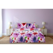 Lenjerie de pat din bumbac 100%,4 piese, 2 peroane,flori-colorate,Heinner