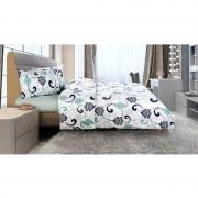 Lenjerie de pat din bumbac 100%,4 piese, 2 peroane,verde-gri,Heinner