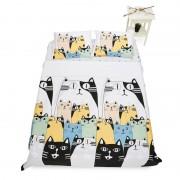 Lenjerie de pat, 2 persoane, 4 piese, dubla, Model Pisica