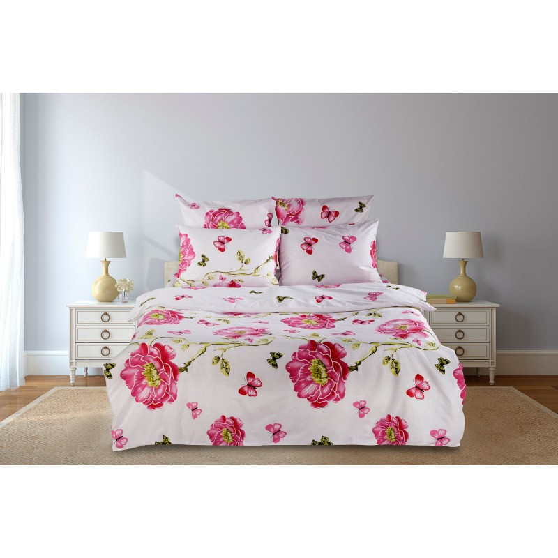 Lenjerie de pat pentru 2 persoane, Model Tandafiri si fluturi, 6 piese