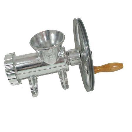 Masina tocat carne din aluminiu cu roata,accesorii carnati, utilizare manuala sau motor electric, nr 32