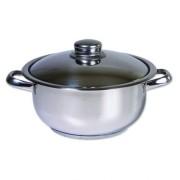 Oala inox cu capac, Cocinera,18 cm, 1.8L, 3 straturi
