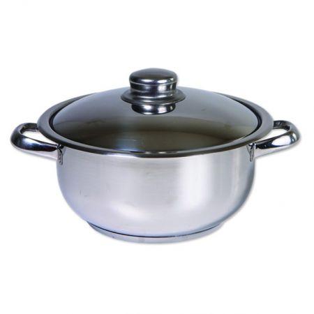 Oala din inox cu capac, 20 cm, 2 L, 3 straturi, Cocinera