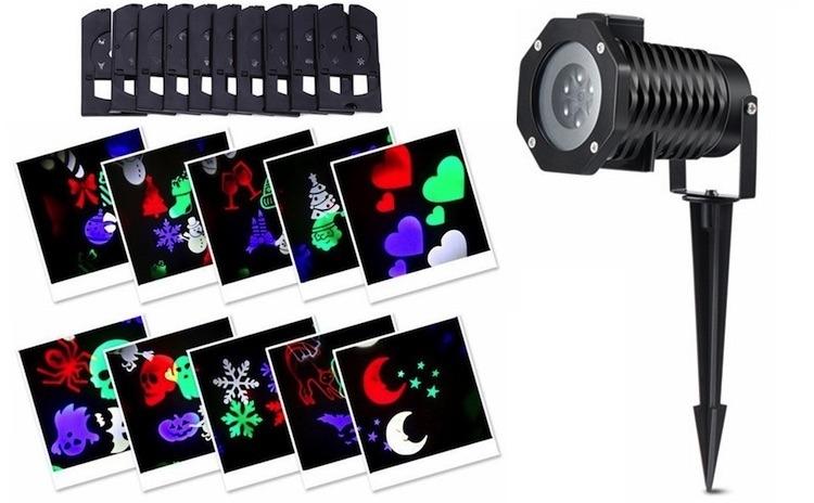 Proiector laser 4 anotimpuri cu 12 diapozitive interschimbabile,Party,Valentines Day, Halloween, Craciun,An Nou