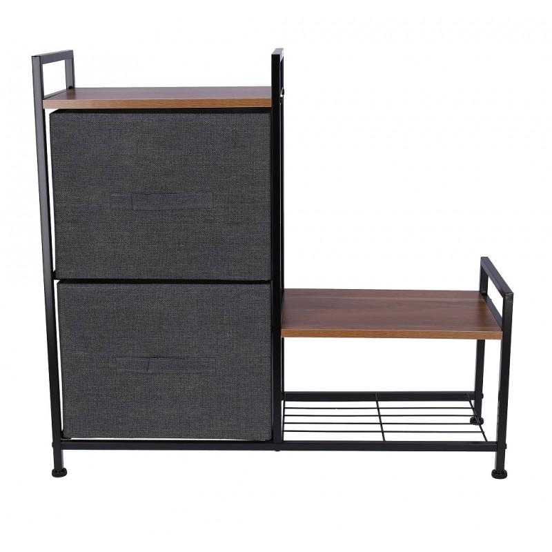 Raft pentru pantofi din material textile cu 2 sertare pliabile, 83x29x77cm, negru