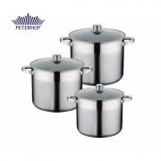 Set 3 Oale Inox cu capace sticla Alden Peterhof cu baza triplustratificata,6 piese, 7 L, 8.5 L si 10.5 L