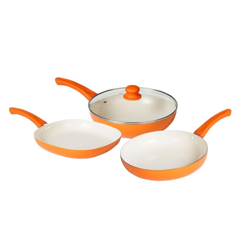Set 4 piese: tigaie wok, tigaie, grill, 28 cm,aluminiu presat acoperir cu ceramica