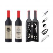 Set 5 Accesorii pentru Vin, 6 piese, 32 cm, Cutie în Formă de Sticlă, Peterhof