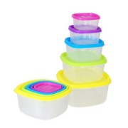 Set 5 caserole plastic cu capace, multicolore, Grunberg