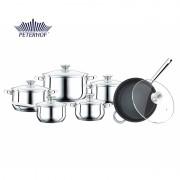 Set 6 Vase:4 oale,1 cratita din Inox, 1 tigaie, cu capace din Sticlă Torro Peterhof, fund 5 straturi,12 piese