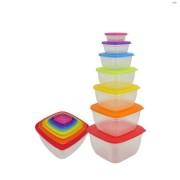 Set 7 caserole plastic cu capace, multicolore, Grunberg