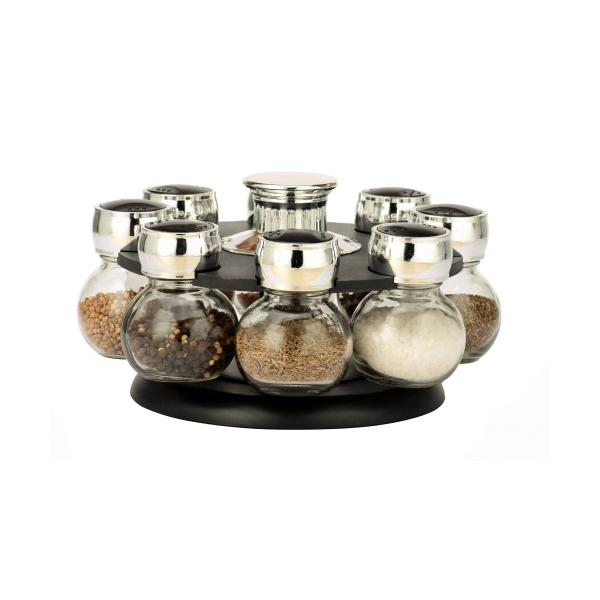 Set condimente 8 codimente cu suport rotativ, sticla si inox, Grumberg