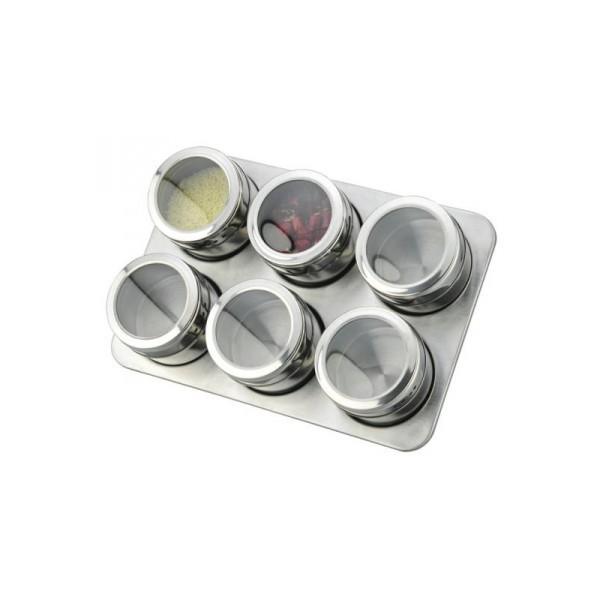 Set Condimente cu Suport Magnetic,7 piese, Inox, Grunberg