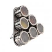 Set Condimente cu Suport Magnetic,7 piese, Inox, Model Triunghi, Grunberg