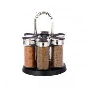 Set condimente  cu suport rotativ,7 piese, sticlă şi inox,Grunberg