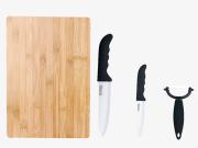 Set cutite din ceramica cu tocator din lemn, 4 piese
