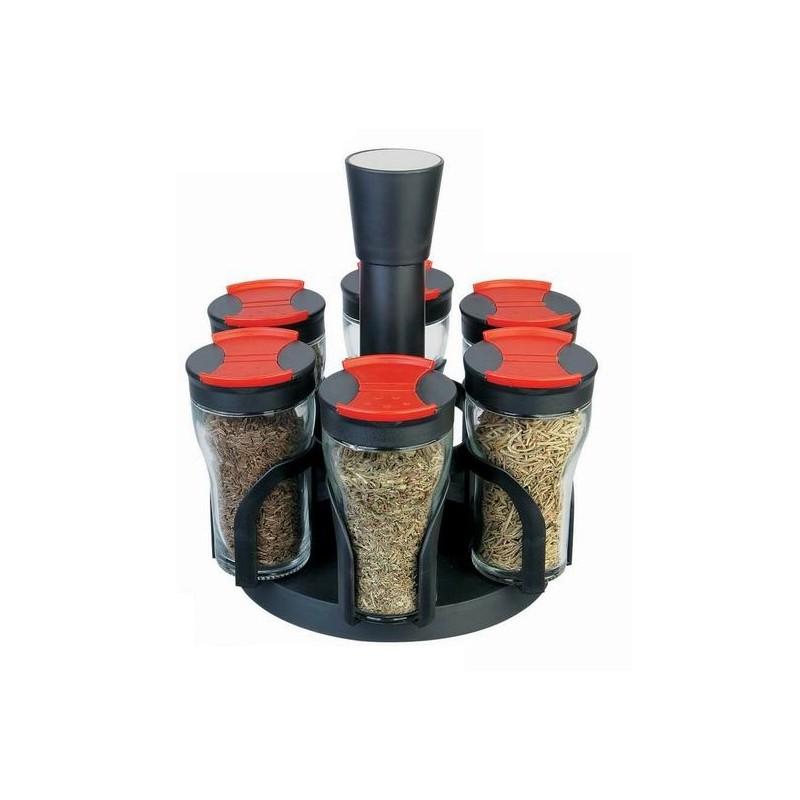 Set 6 recipiente condimente cu suport rotativ, Grunberg