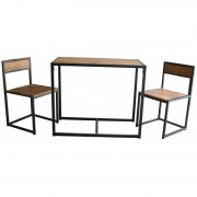 Set masa si 2 scaune, din metal si MDF, Grunberg