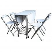 Set Masa si 4 scaune, pliabile, din metal si  blad MDF, Alb