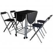 Set Masa si 4 scaune, pliabile, din metal si  blad MDF,Negru