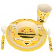 Set mic dejun din fibre de bambus, 5 piese, pentru copii , Grunberg (albinuta)