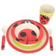 Set mic dejun din fibre de bambus, 5 piese, pentru copii , Grunberg (gargarita)