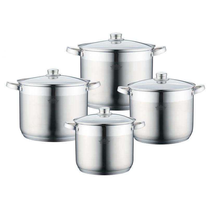 Set 4 oale din inox cu capace din sticlă Alden Peterhof,  fund 5 straturi, 7 L, 8 L, 9 L, 12 L, 8 piese