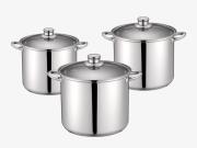 Set 3 oale din  inox cu  fund in 3 straturi, capace sticla, 11L,9L,7L,Peterhof