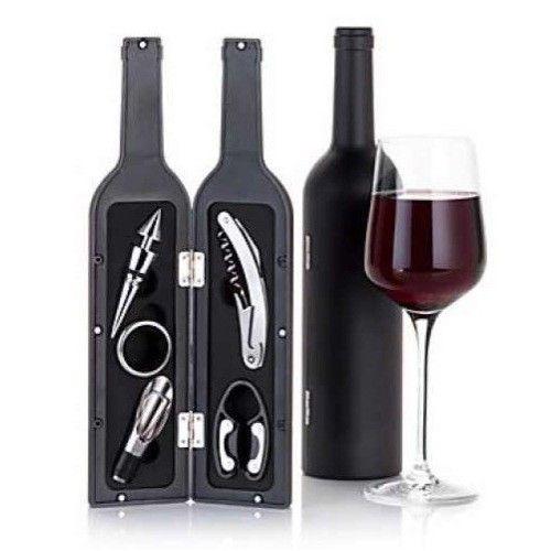 Set 5 accesorii din metal pentru vin,6 piese,cuite  in forma de sticla