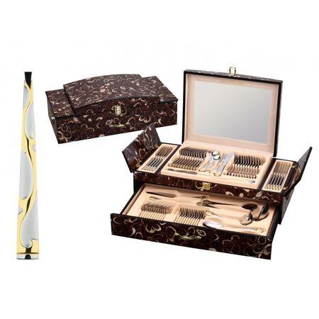 Set tacamuri din inox,72 piese,cutie lemn,Leona Zillinger,pentru 12 persoane