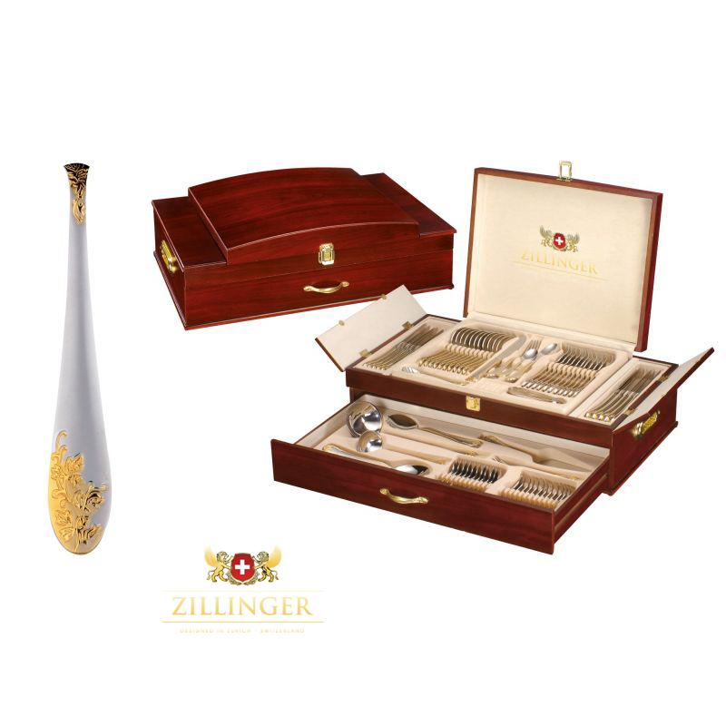 Set tacamuri din inox pentru  12 persoane,cutie lemn,Premium and Luxurious Zillinger, 72 piese