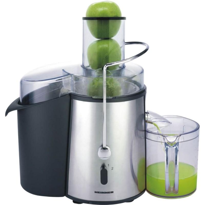 Storcator de fructe si legume Heinner, 1000 W, Recipient suc 1 l, Recipient pulpa 2 l, 2 Viteze, Tub de alimentare 75 mm, Inox