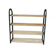 Suport pentru incaltaminte cu 4 rafturi, lemn si plastic, 64 x 18 x 64 cm, bienWood