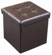 Taburet cu spatiu pentru depozitare din piele ecologica,maro, 38 x 38 cm