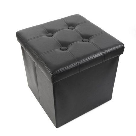 Taburet cu Spatiu Depozitare, 38 x 38 cm, piele ecologica, Negru