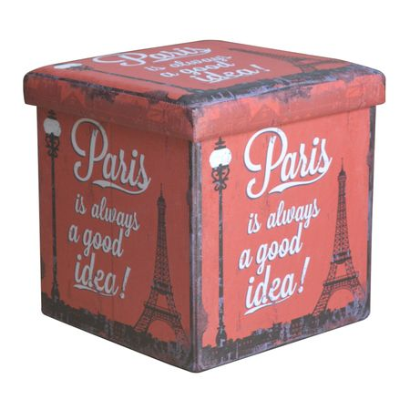 Taburet  cu spatiu depozitare 38 x 38 x 37.5 cm cu imprimeu Paris