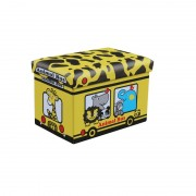 Taburet cu spatiu depozitare 48 x 32 x 32 cm, imprimeu Animal Bus