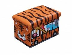 Taburet din piele ecologica  cu spatiu depozitare, 48 x 32 x 32 cm, imprimeu Safari Bus