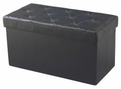 Taburet cu spatiu de depozitare, Piele Ecologica, pliabil si extrem de compact ,76x38x38cm, Negru