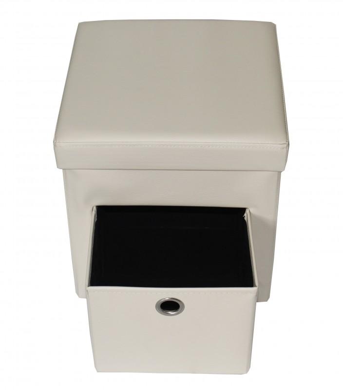 Taburet din piele ecologica cu spatiu depozitare,culoare bej, 38x38 cm