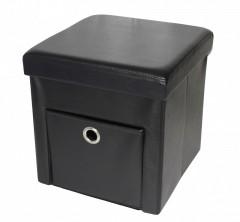 Taburet din piele ecologica cu spatiu depozitare,culoare negru, 76x38 X38 cm